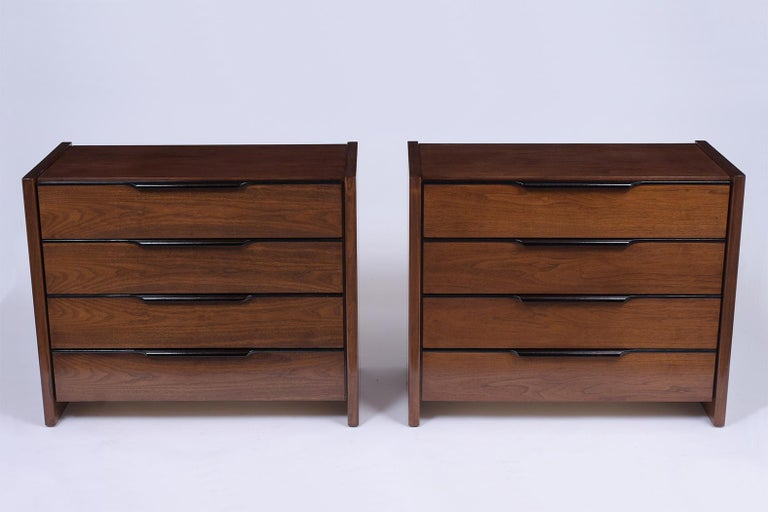 Amsterdam School Pair of Mid-Century Modern Walnut Dressers For Sale