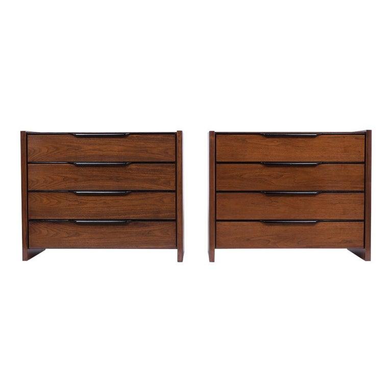 American Pair of Mid-Century Modern Walnut Dressers For Sale
