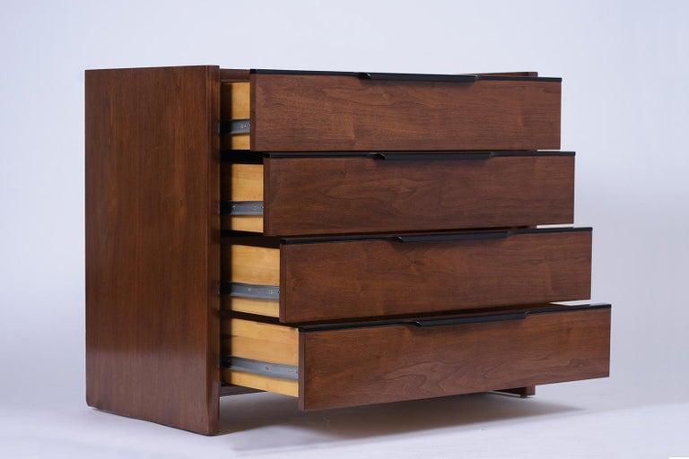 Pair of Mid-Century Modern Walnut Dressers For Sale 1