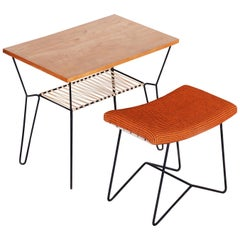Set of Midcentury Orange Stool and Beech Table, Preserved Condition, 1950s