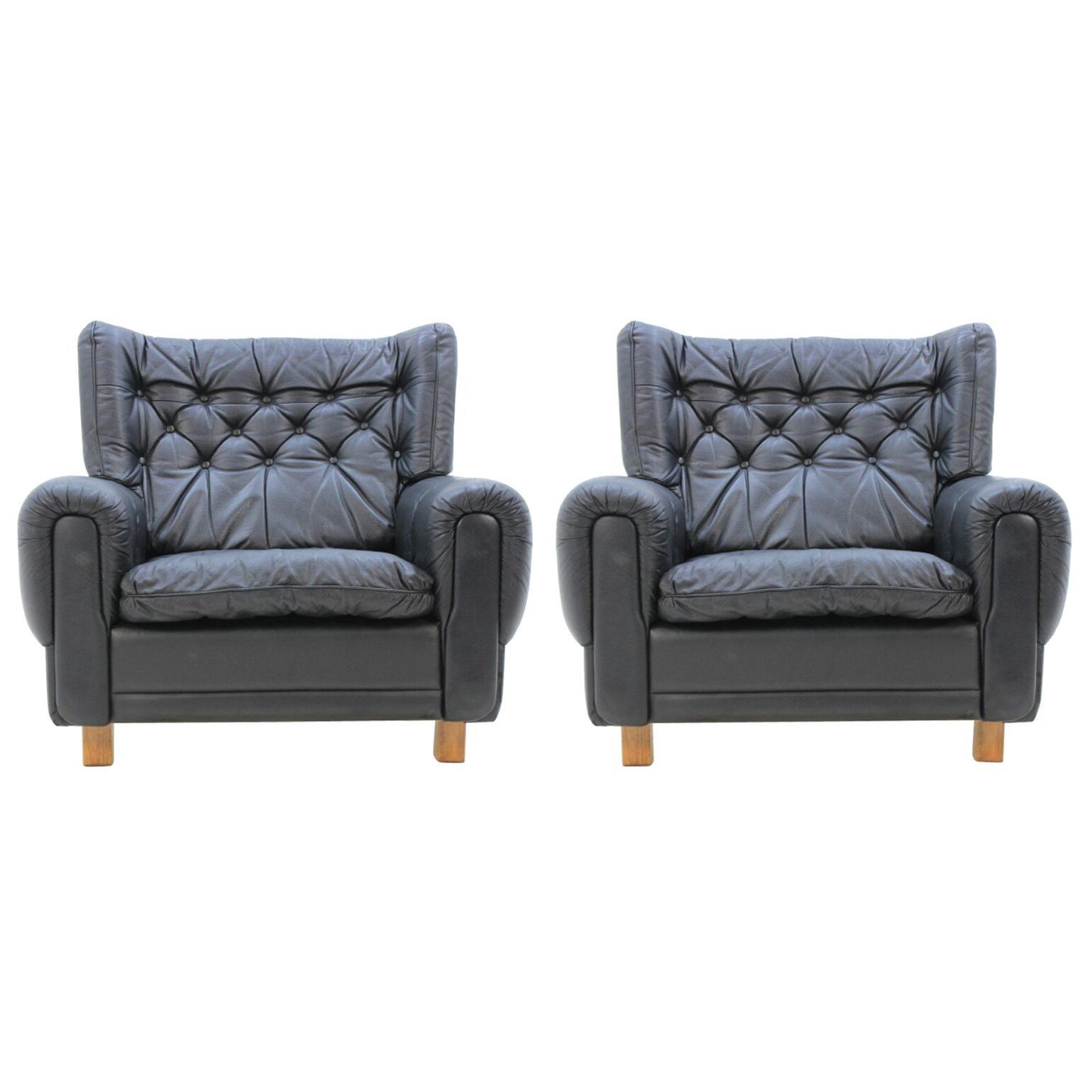 Set of Midcentury Black Leather Armchairs, 1970s