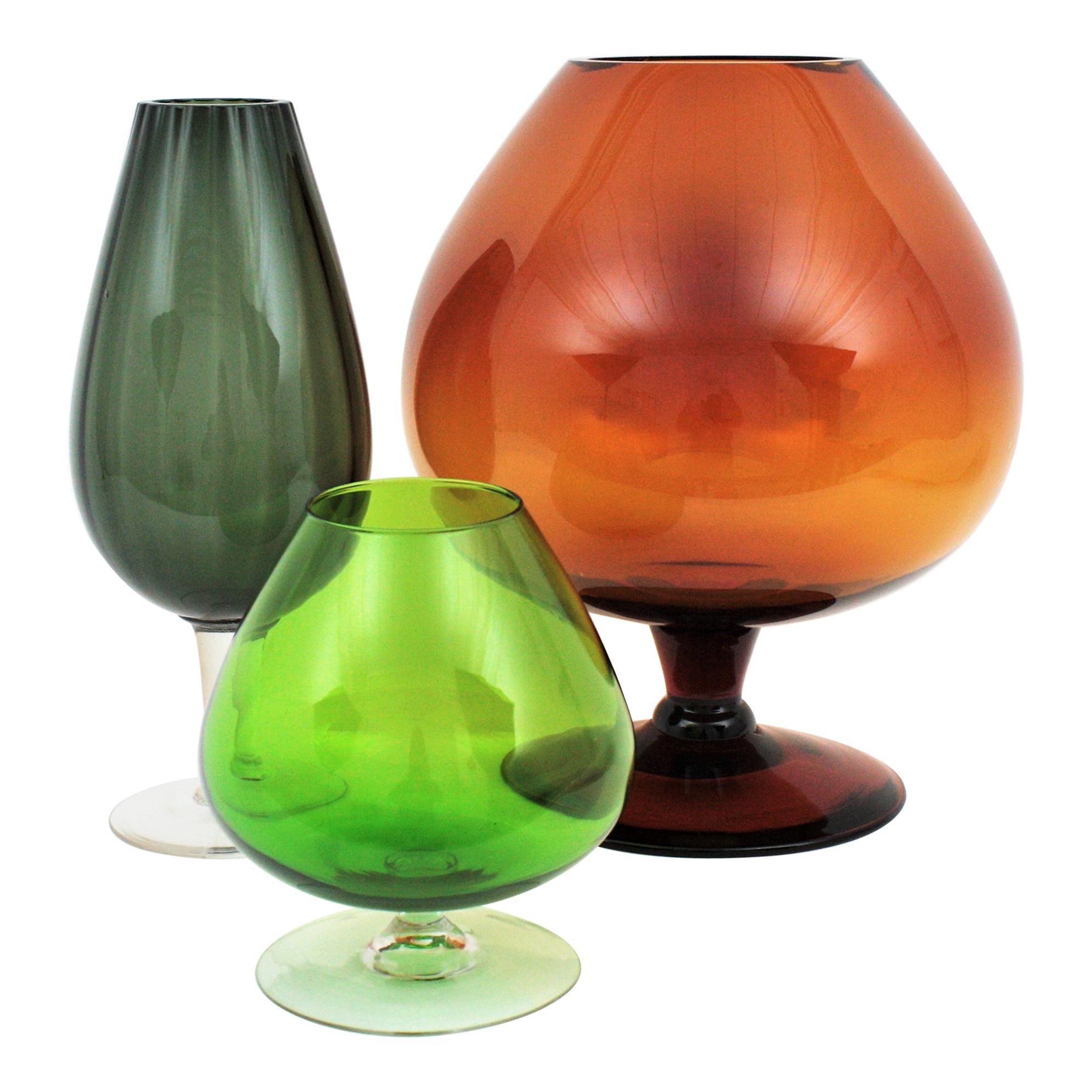 Oversized Midcentury Cocktail Glasses, Set of Three