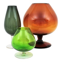 Set of Midcentury Colorful Giant Sized Cocktail Glasses