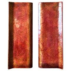 Set of Midcentury Enamel Door Handles in Pink Burnt-Orange and Gold Tones, Italy