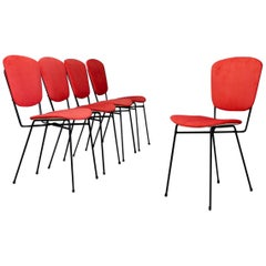 Set of Midcentury Five Chairs Produced Doro Cuneo in Iron and Fabric, 1960s