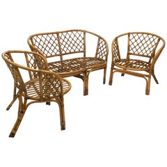 Set of Midcentury French Riviera Bamboo and Rattan Sofa and Armchairs, 1960s