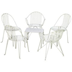 Set of Midcentury Garden Chairs and Table, Iron, White Painted, German