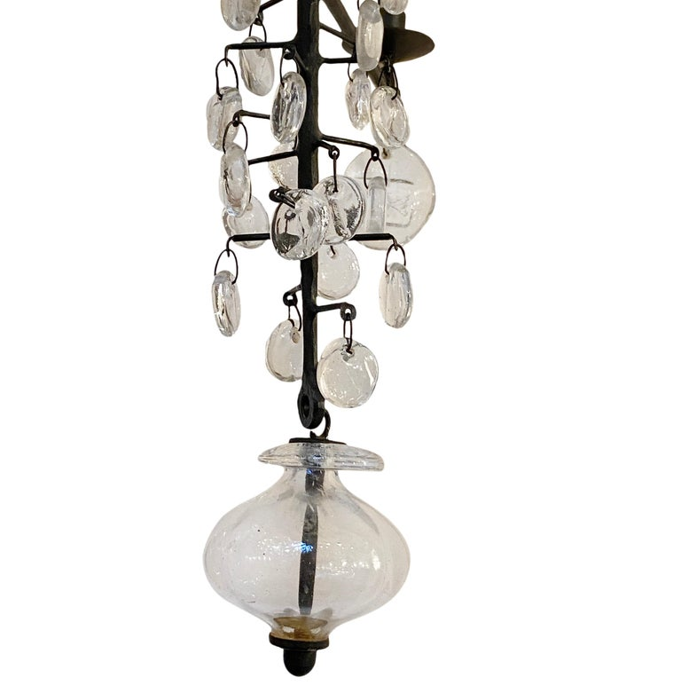 Swedish Set of Midcentury Iron and Glass Chandeliers, Sold Individually For Sale