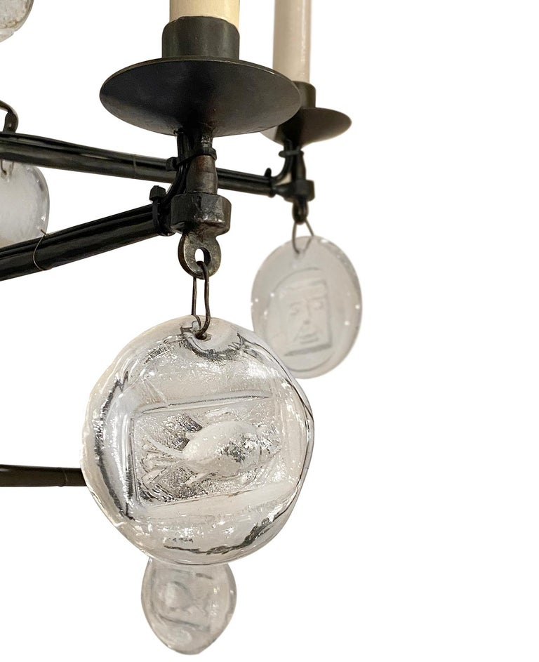 Molded Set of Midcentury Iron and Glass Chandeliers, Sold Individually For Sale