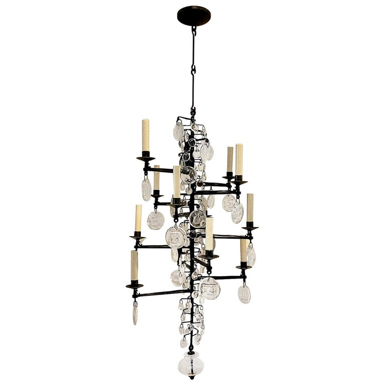 Set of Midcentury Iron and Glass Chandeliers, Sold Individually For Sale