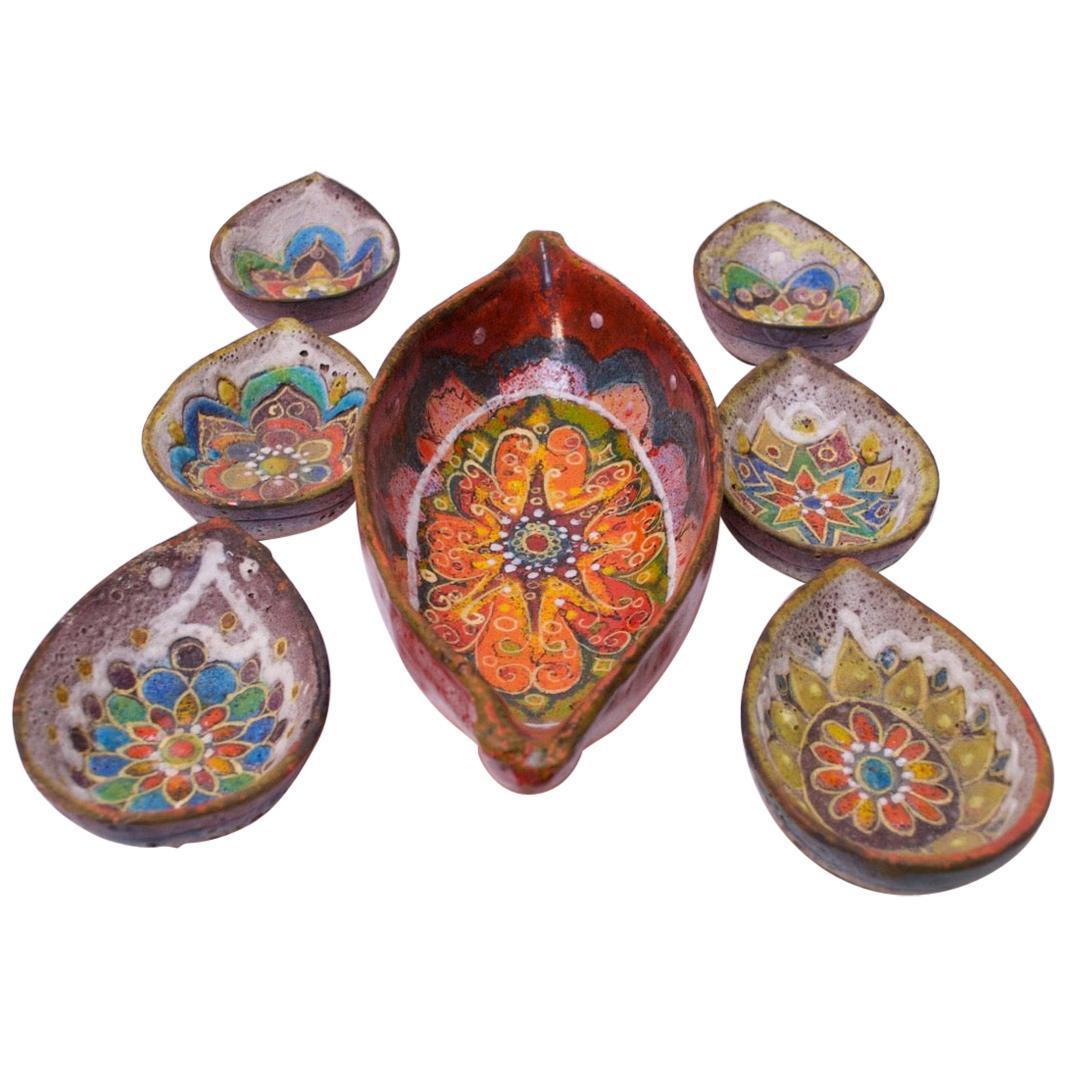 Set of Midcentury Italian Modern Zaramella Ceramic Serving and Condiment Bowls
