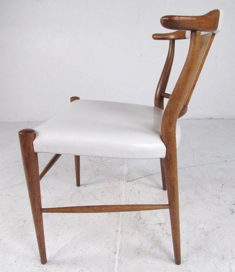 Set of Midcentury Leather Dining Chairs by Heritage Henredon For Sale 5