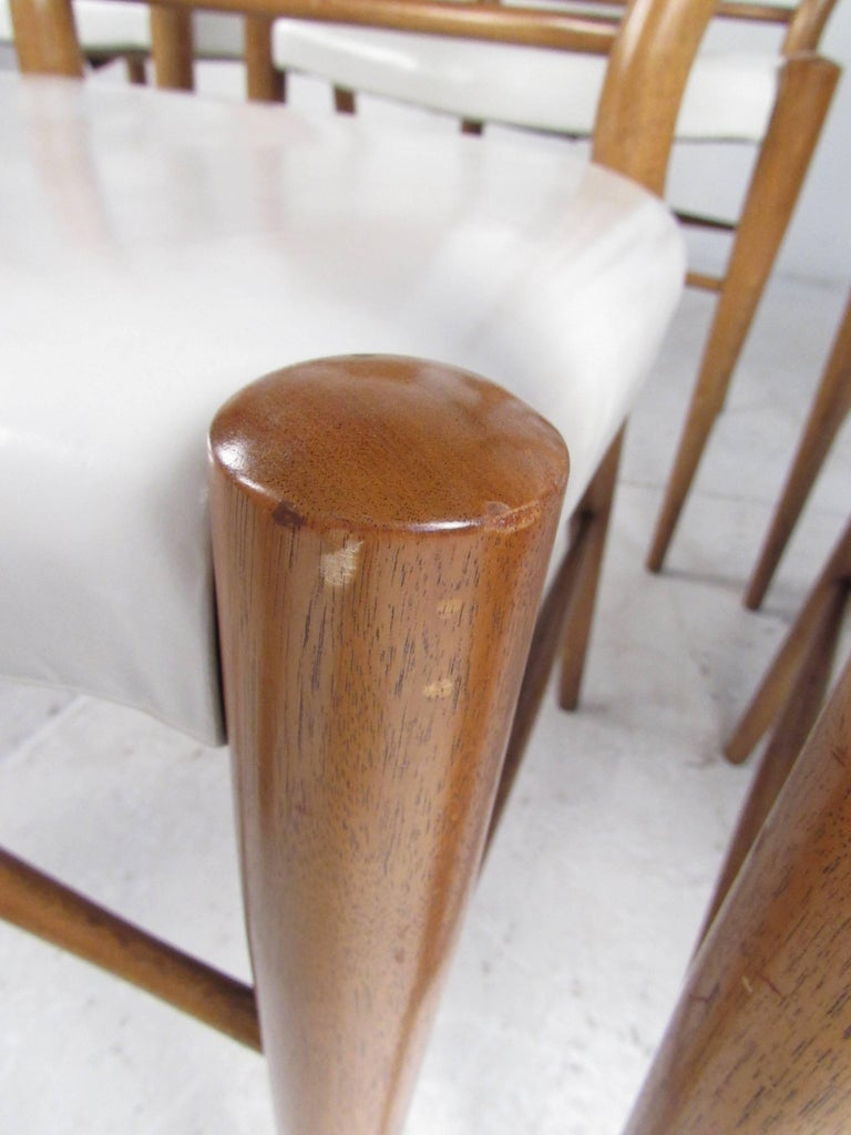 Set of Midcentury Leather Dining Chairs by Heritage Henredon For Sale 7