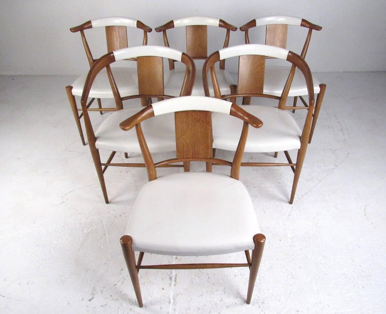 Mid-Century Modern Set of Midcentury Leather Dining Chairs by Heritage Henredon For Sale