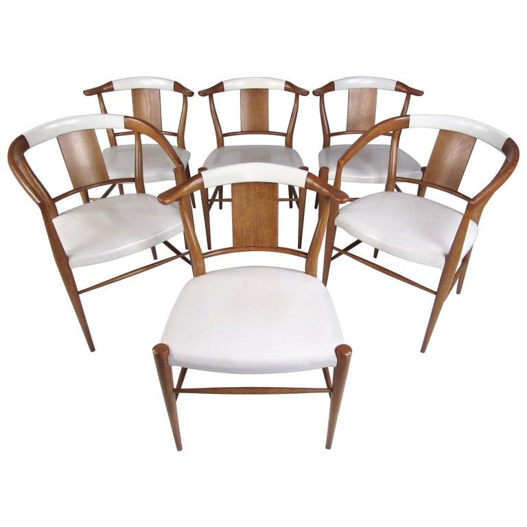847c542617107 Set of Midcentury Leather Dining Chairs by Heritage Henredon For Sale at  1stdibs
