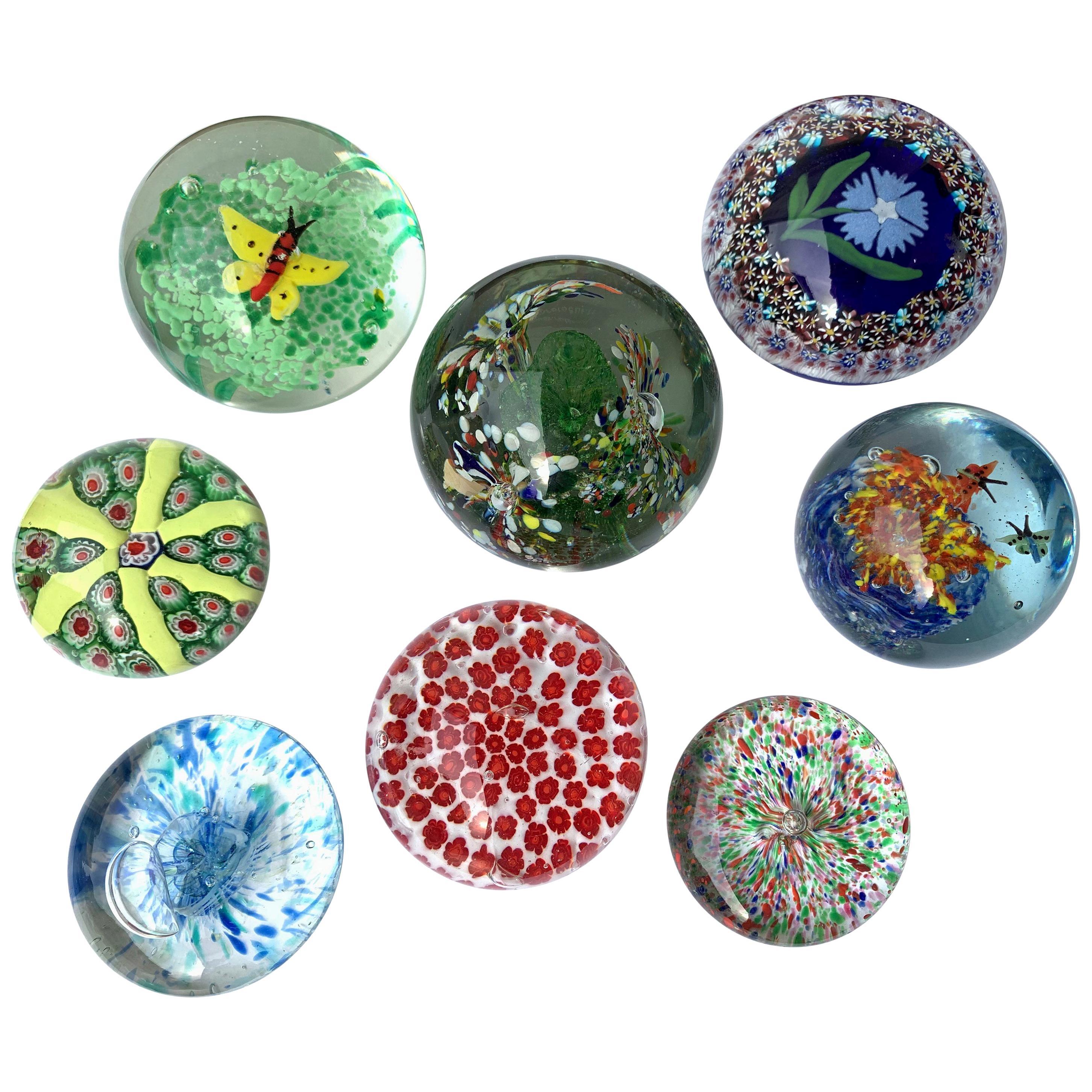 Set of Midcentury Murano Glass Italian Millefiori Collection Paperweight, 1980s