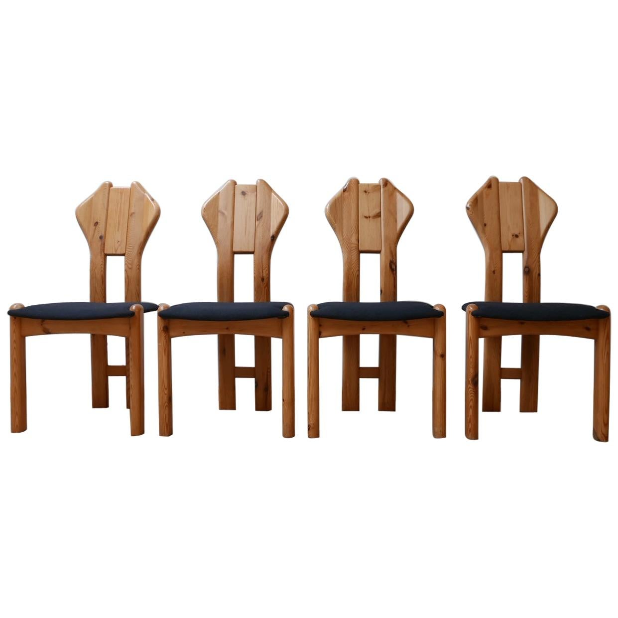 Set of Midcentury Pine Danish Dining Chairs