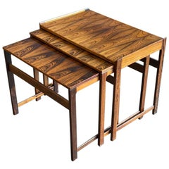 Set of Midcentury Scandinavian Rosewood Nesting Tables with Organic Shape