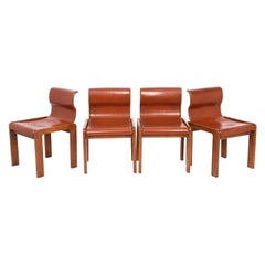 Set of Midcentury Tobia & Afra Scarpa Leather and Wood Italian Chairs, 1960s