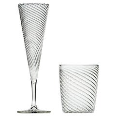 Set of Mille Righe Flutes and Water Glasses for Six