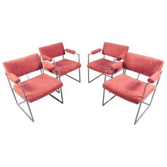 Set of Milo Baughman Chrome and Upholstery Armchairs
