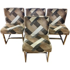 Set of Milo Baughman Mid-Century Modern Chrome Upholstered Larsen Chairs