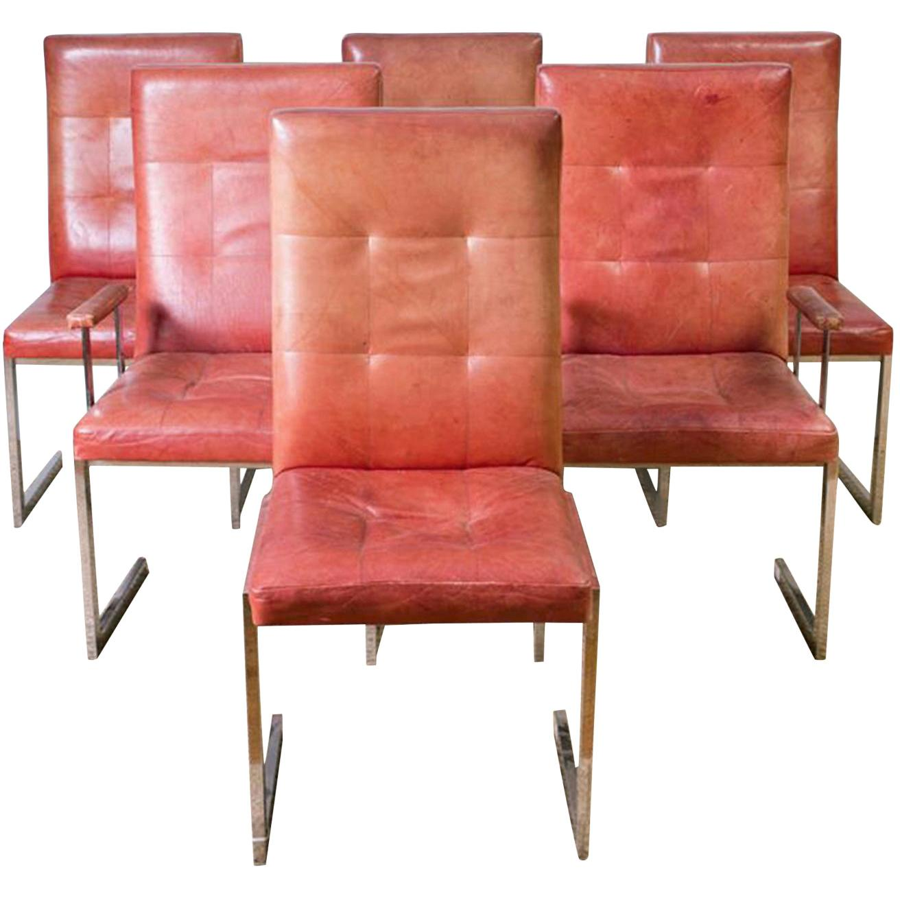 Set of Milo Baughman Style Chrome and Leather Dining Chairs