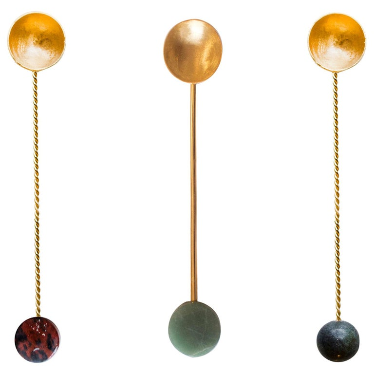 Set of Gold Plated Mini Spoons  For Sale