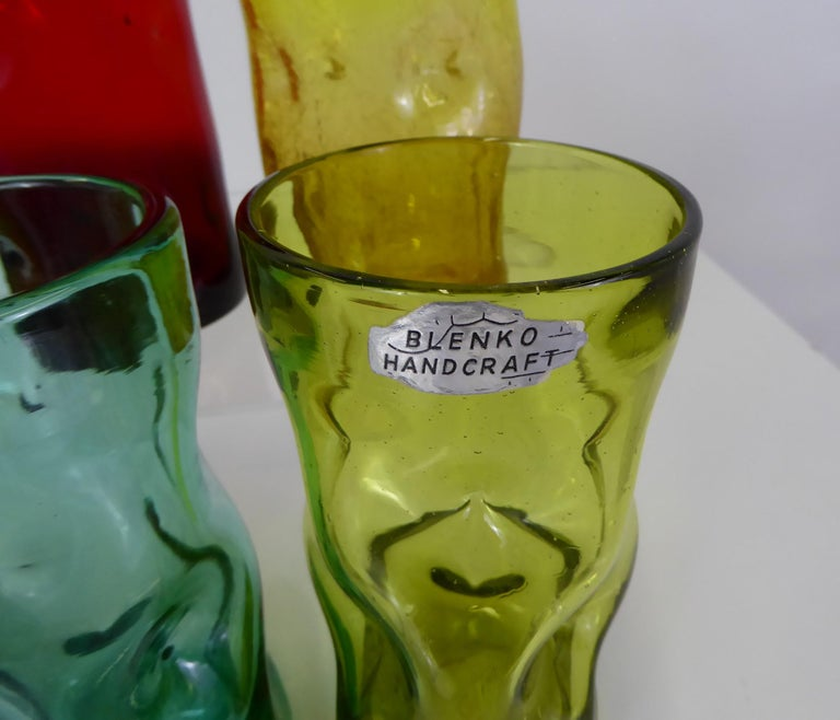 Mid-Century Modern Set of Modern Blenko Glass Colorful Pinch Tumblers, 1970s For Sale