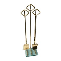 Set of Modern Brass and Glass Fireplace Tools