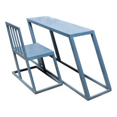 Set of Modern Iron Desk and Chair, circa 1970