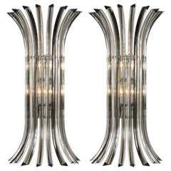 Set of Moderne Clear Glass Sconces, Sold Per Pair