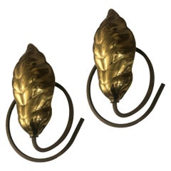 Set of Modernist Scrolled Leaf Brass Sconces, Sold Per Pair