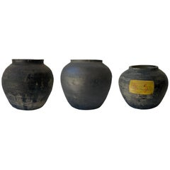 Set of Monochrome Architectural Clay Pots of Mexican Origin