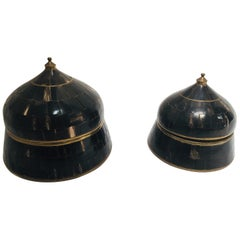 Set of Moorish Decorative Trinket Lidded Box Inlaid with Horn and Brass