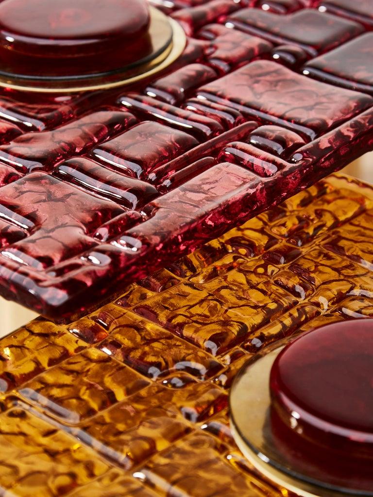 Italian Set of Murano Glass Cocktail Tables by Studio Glustin For Sale