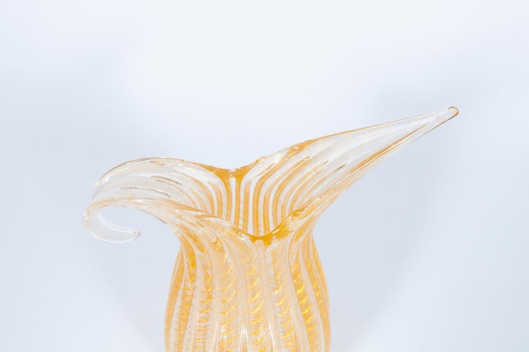 Set of Murano Glass Ribbed Vase and Pitcher with 24-Karat Gold, Italy, 1980s For Sale 3