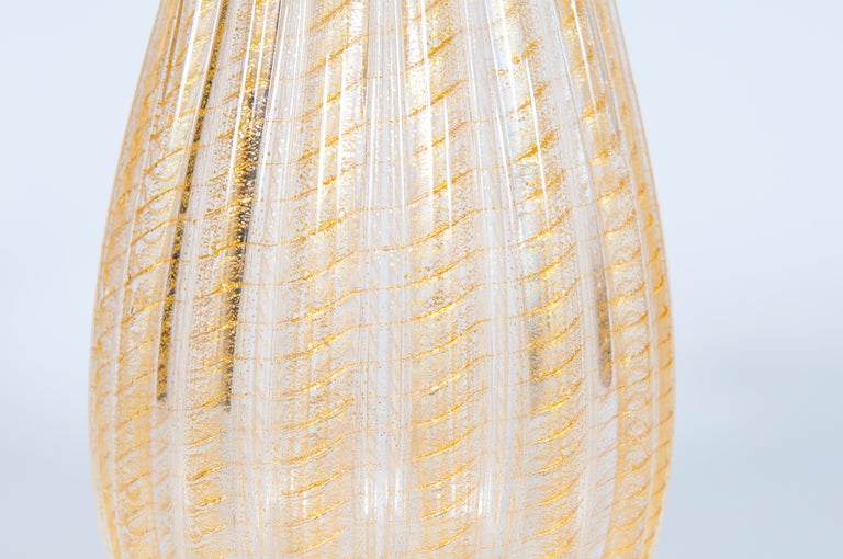 Set of Murano Glass Ribbed Vase and Pitcher with 24-Karat Gold, Italy, 1980s For Sale 5