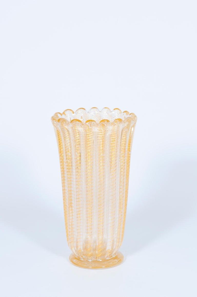 Mid-Century Modern Set of Murano Glass Ribbed Vase and Pitcher with 24-Karat Gold, Italy, 1980s For Sale