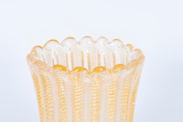 Hand-Crafted Set of Murano Glass Ribbed Vase and Pitcher with 24-Karat Gold, Italy, 1980s For Sale