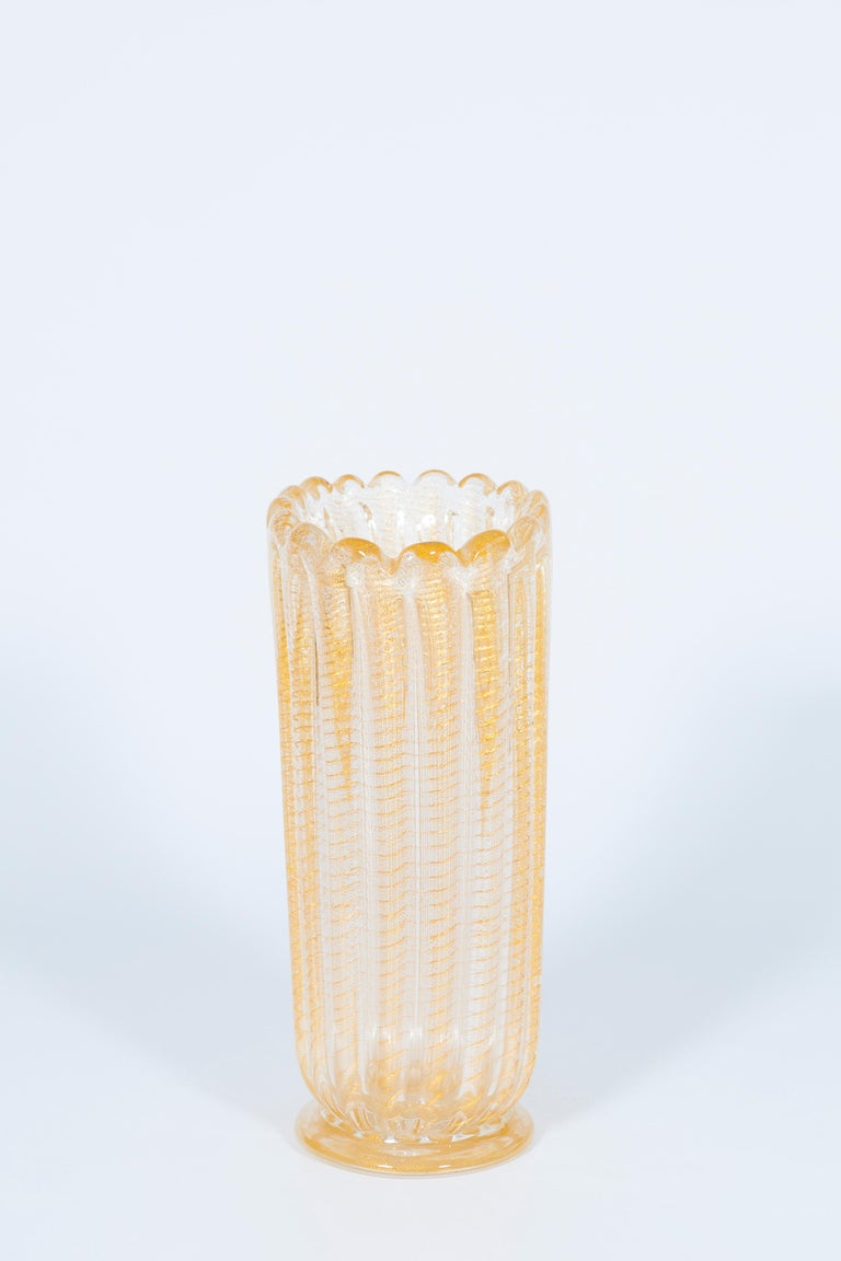 Late 20th Century Set of Murano Glass Ribbed Vase and Pitcher with 24-Karat Gold, Italy, 1980s For Sale