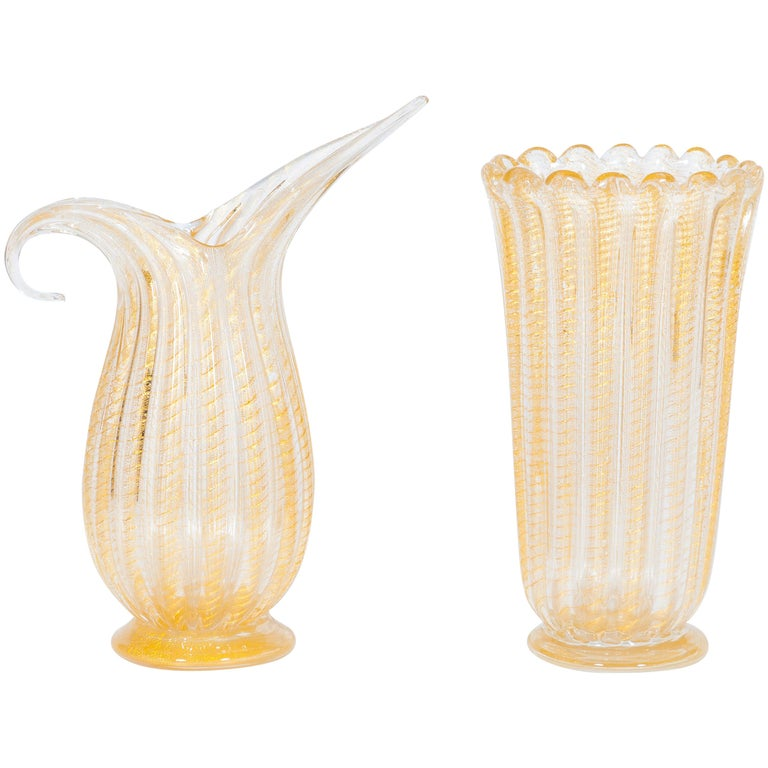 Set of Murano Glass Ribbed Vase and Pitcher with 24-Karat Gold, Italy, 1980s For Sale