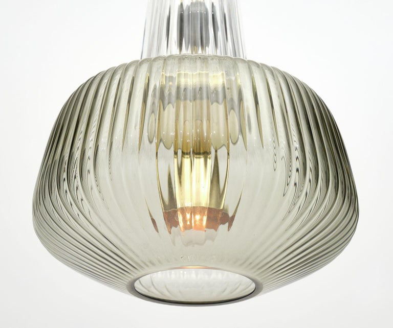 Mid-Century Modern Set of Murano Glass Ridged Pendants in the Style of Ettore Sottsass For Sale