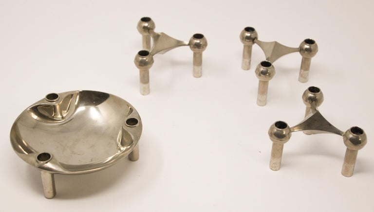 Brushed Set of Nagel and Stoffi Modular Candleholders with Dish For Sale