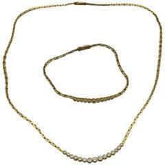 Set of Necklace and Bracelet 18 Karat Yellow Gold and Diamonds