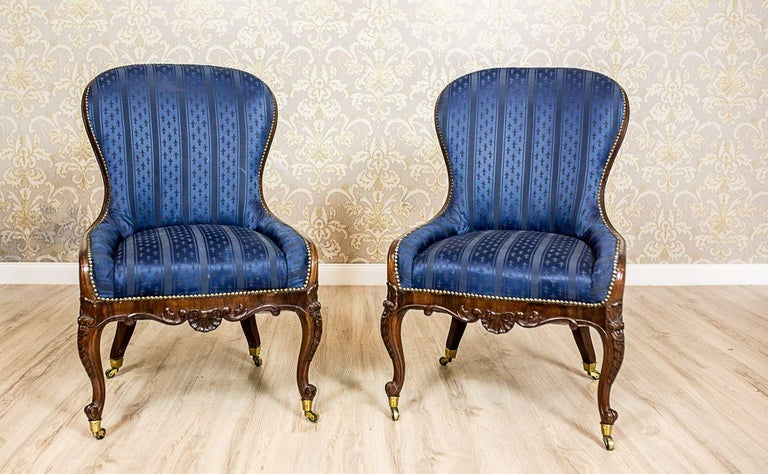 Rococo Revival Set of Neo-Rococo Rosewood Armchairs from the 19th-20th Century For Sale