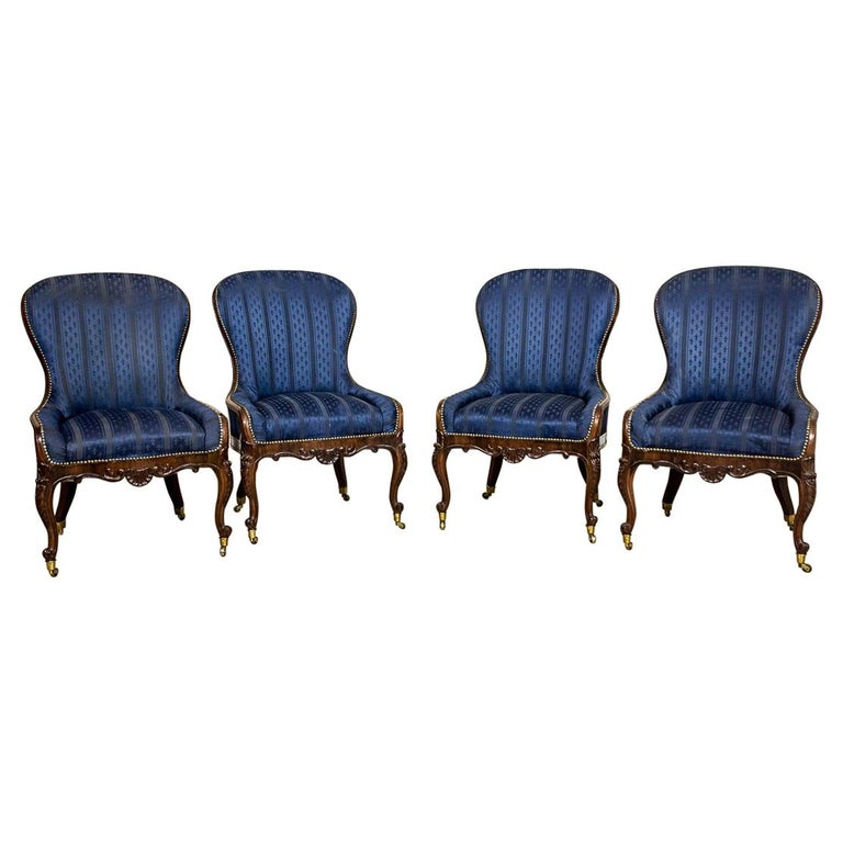 Set of Neo-Rococo Rosewood Armchairs from the 19th-20th Century For Sale