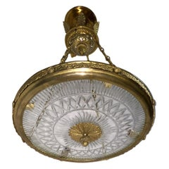 Set of Neoclassic Bronze and Cut Glass Pendant Light Fixtures