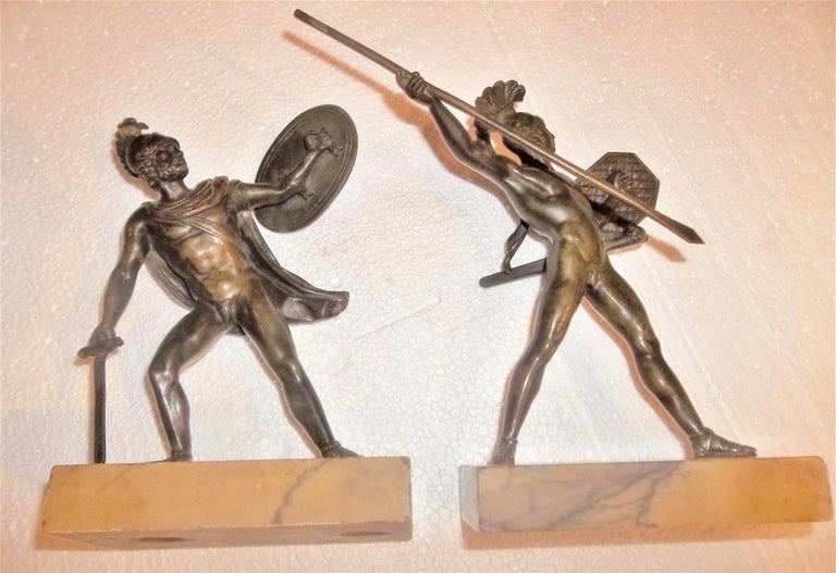 Set of Neoclassical Bronze Grand Tour Souvenirs of Warriors For Sale 5