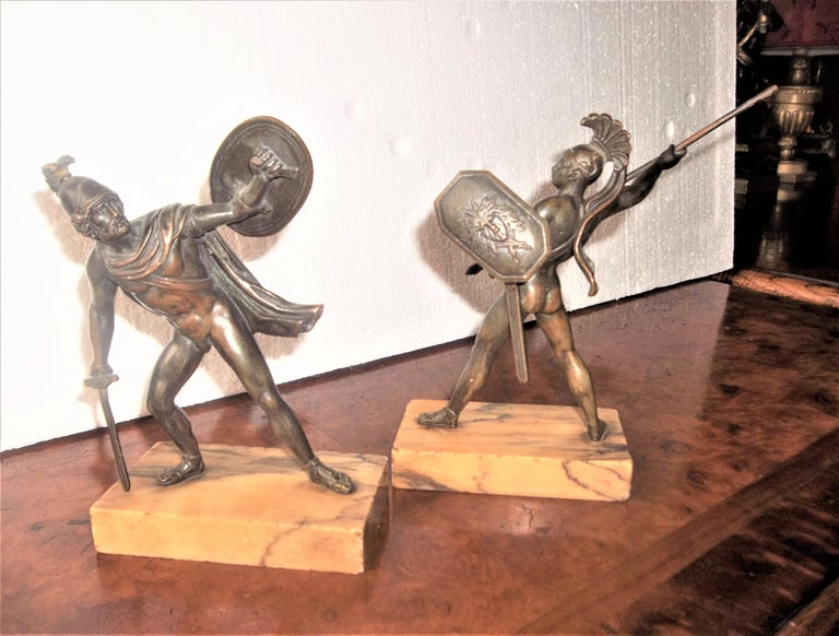 Set of Neoclassical Bronze Grand Tour Souvenirs of Warriors For Sale 6